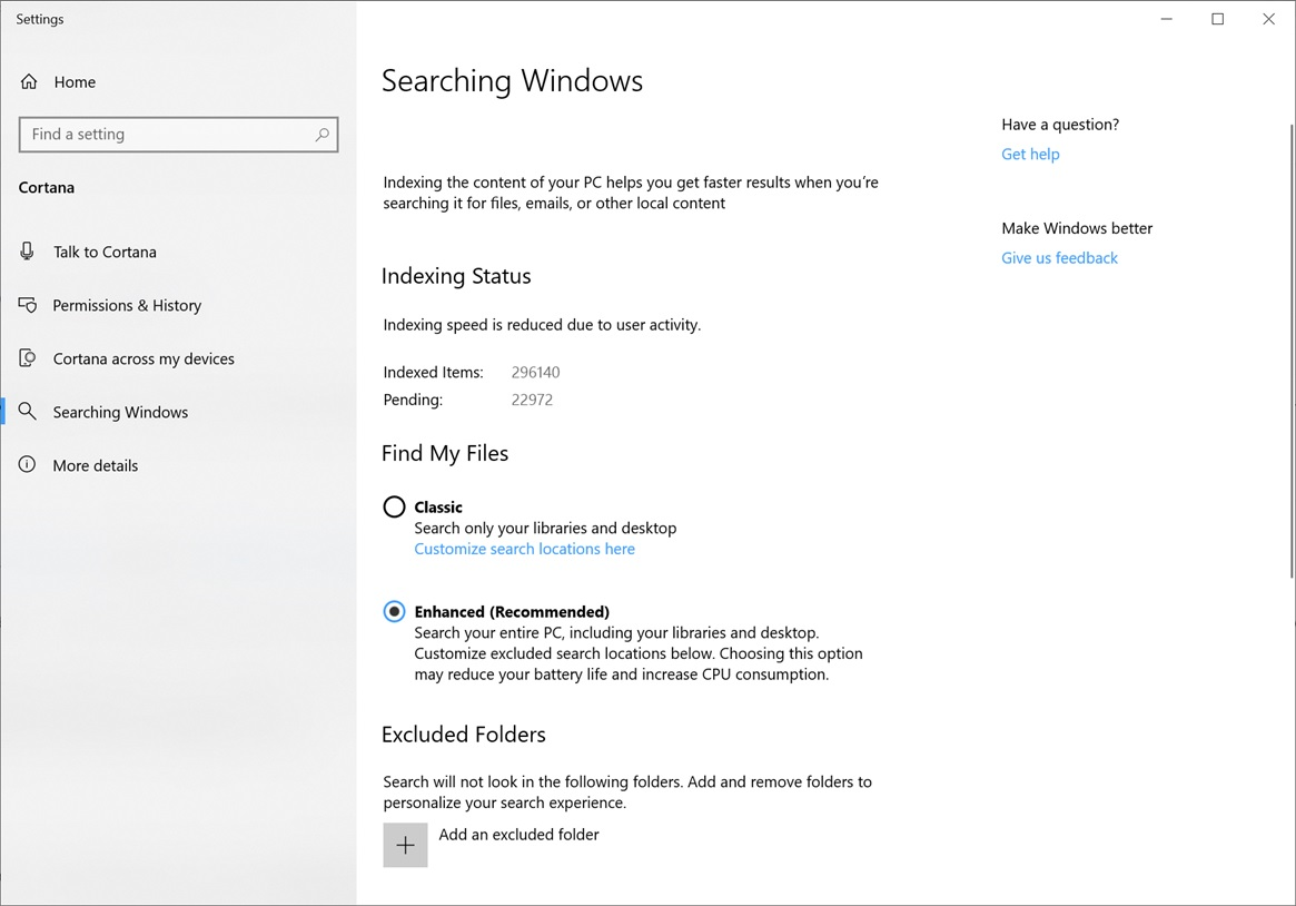 Windows 10 Search Indexer
