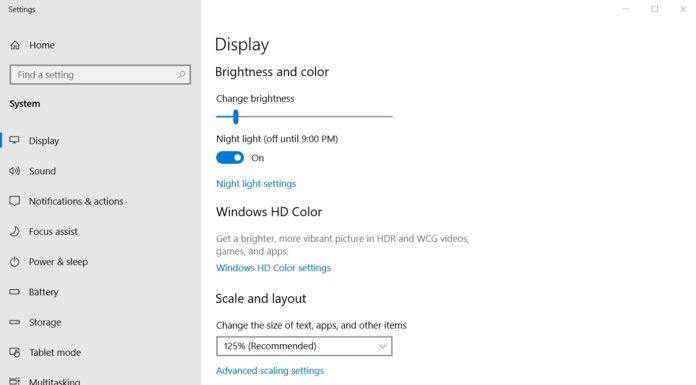 Windows 10 brightness control