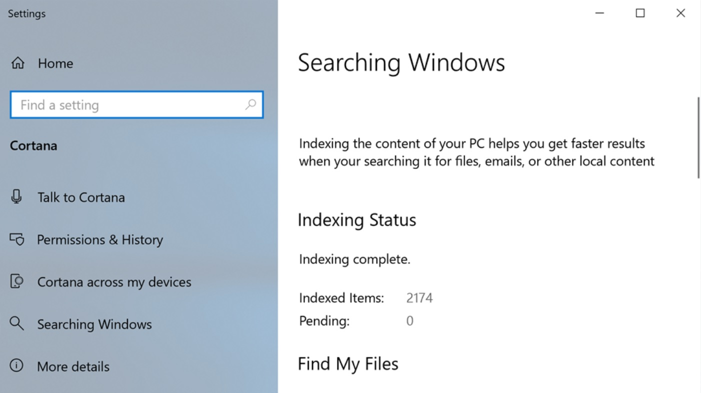 Windows Search Settings