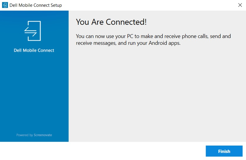 Dell Mobile Connect confirmation screen