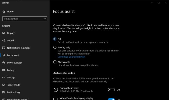 Focus Assist in Windows 10