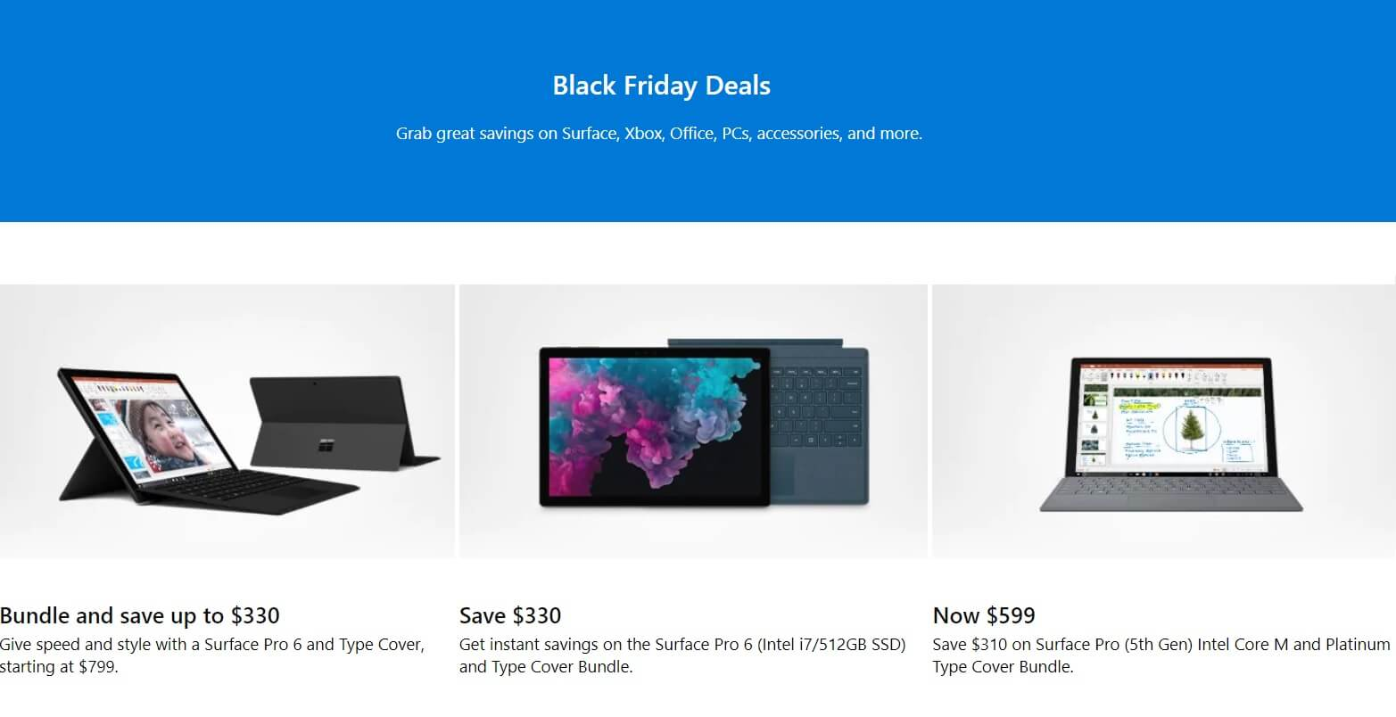 microsoft black friday deals save 330 on surface pro 6 300 on