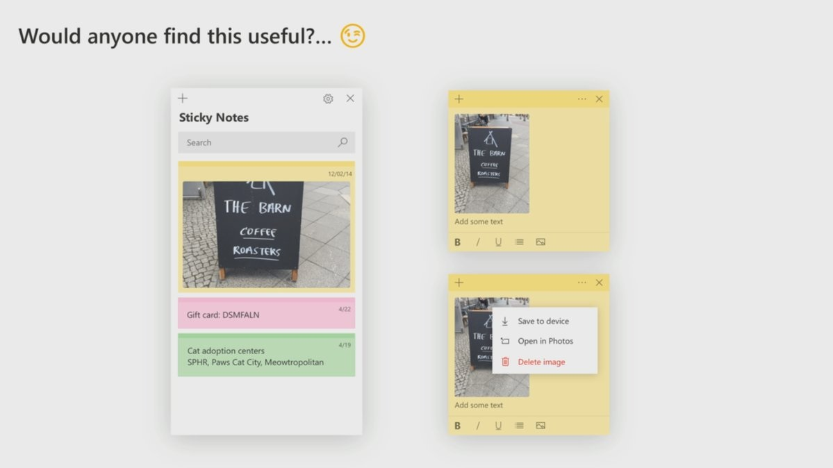 Sticky Notes image feature