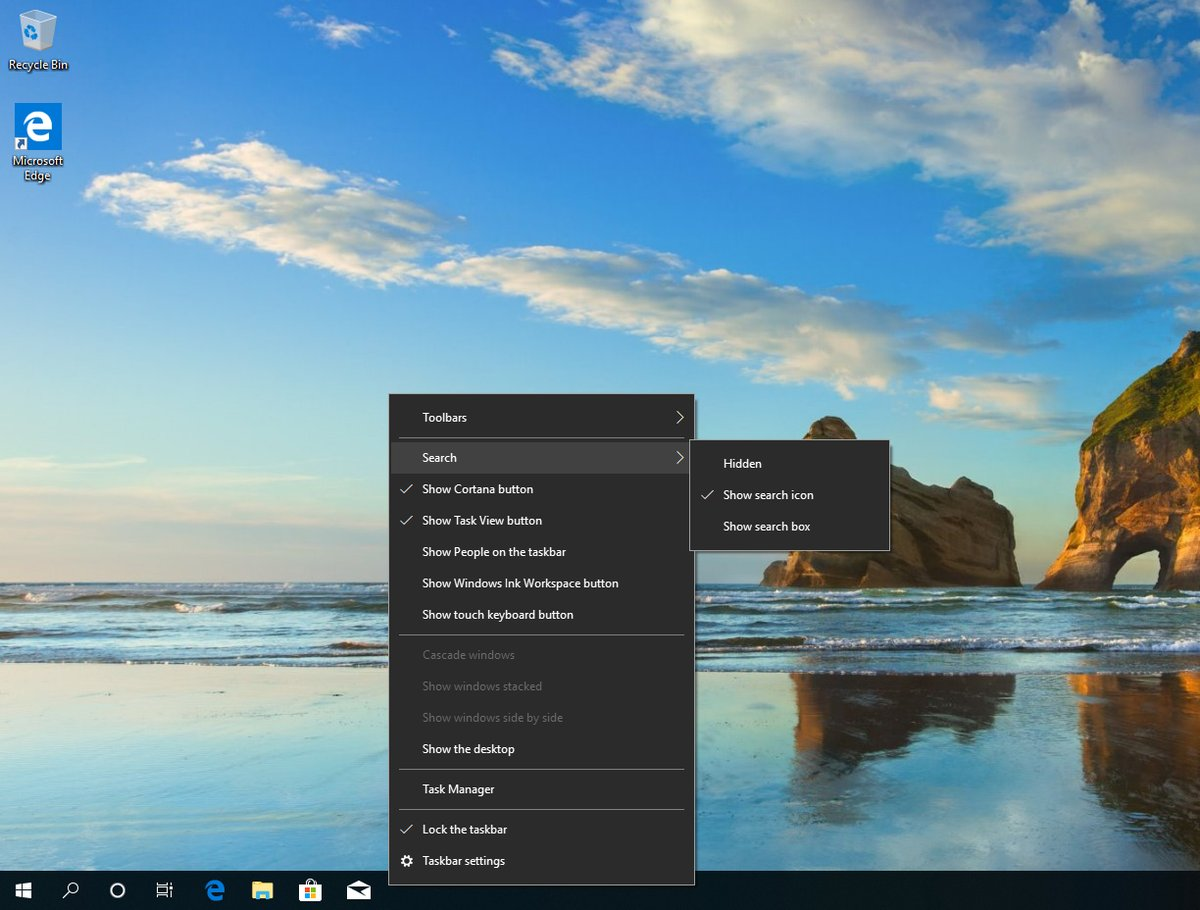Taskbar in Windows 10 19H1