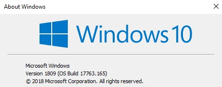 Windows 10 Build 17763.165
