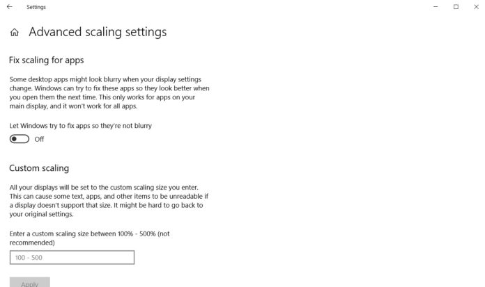 Windows 10 DPI settings