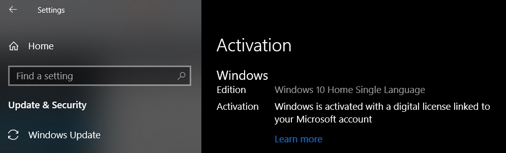 Windows 10 Home Activation