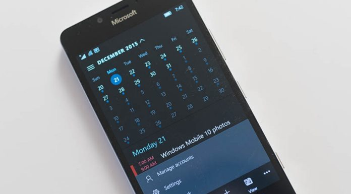 Windows 10 Mobile Calendar app