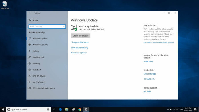 Windows 10 October 2018 Update page