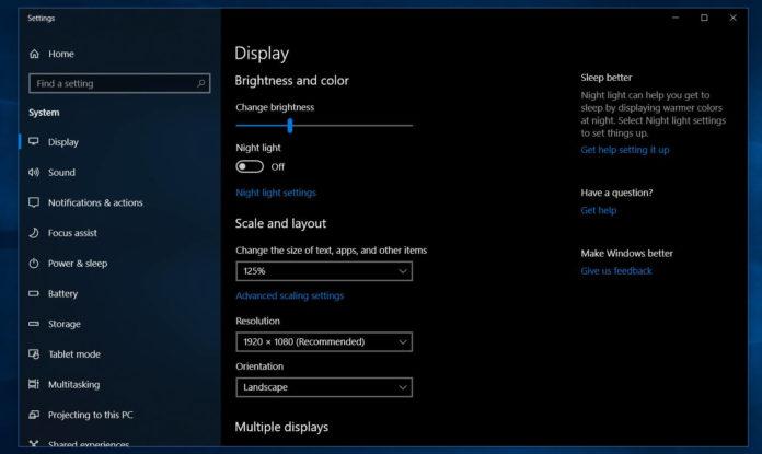 Windows 10 brightness settings