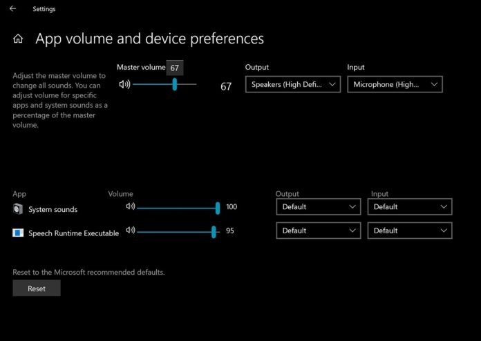 Windows 10 modern volume mixer