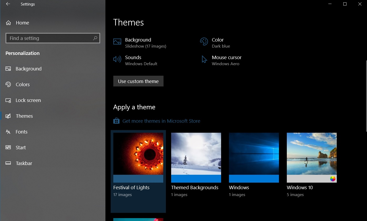 Windows 10 wallpaper settings