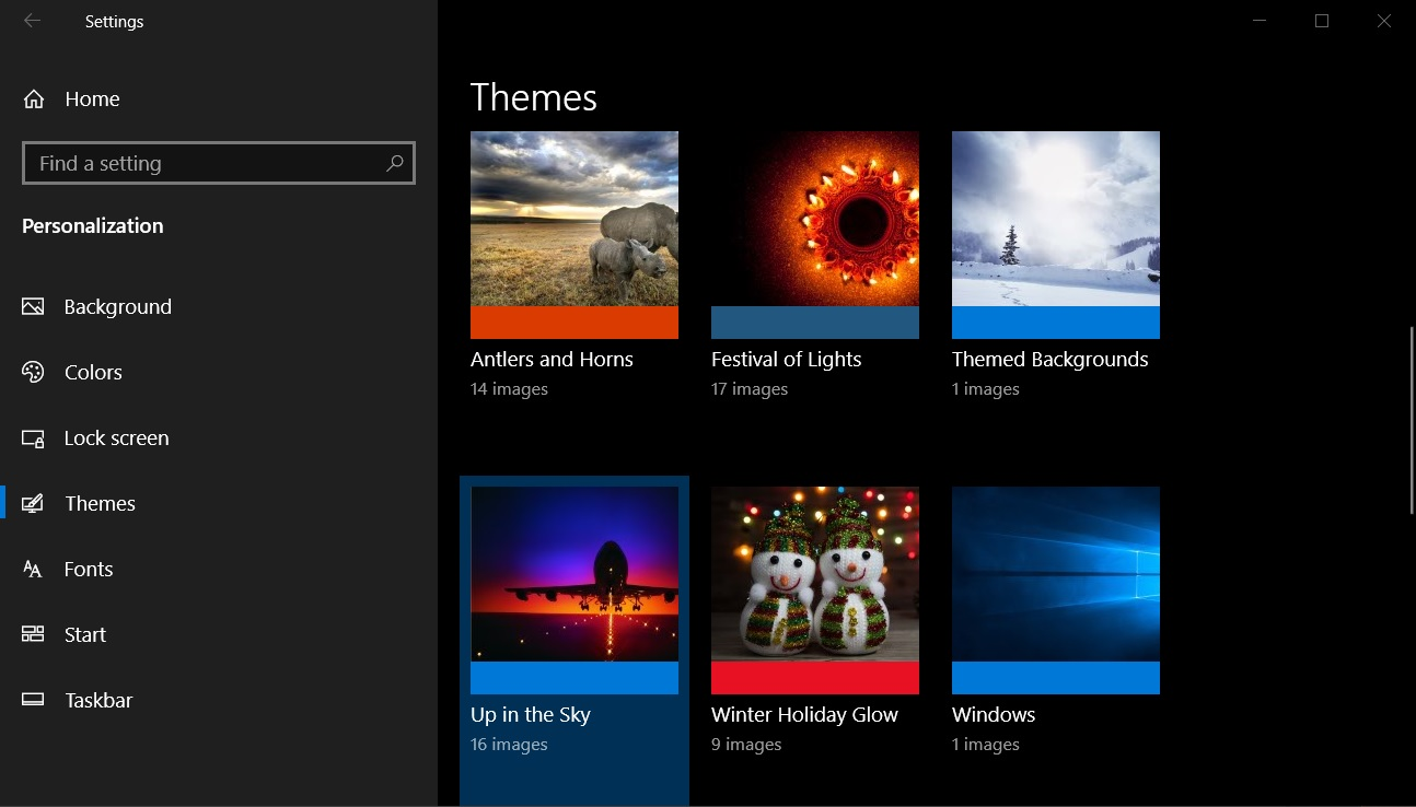 Windows 10 personalization page