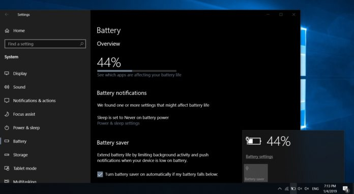 Battery feature in Windows 10