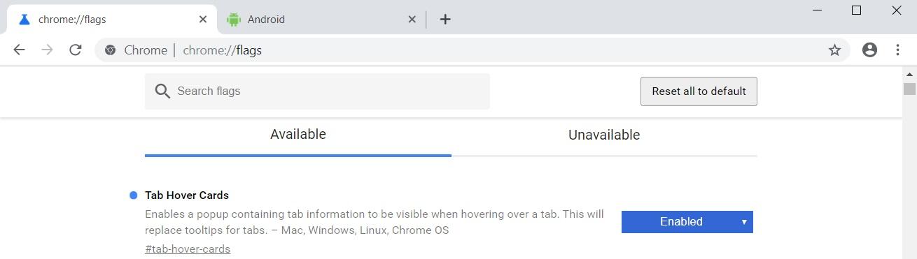 Chrome flags menu