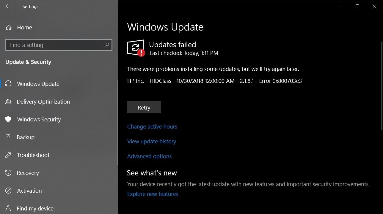 HP HIDClass error 0x800703e3