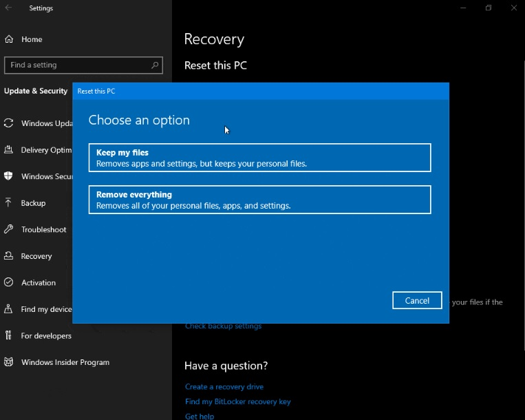 Reset PC page