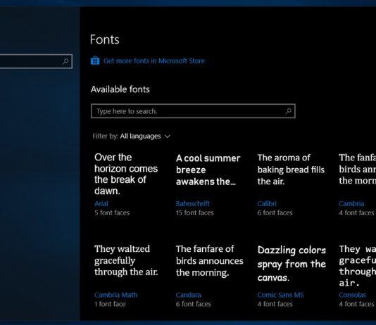 Windows 10 Fonts Setting