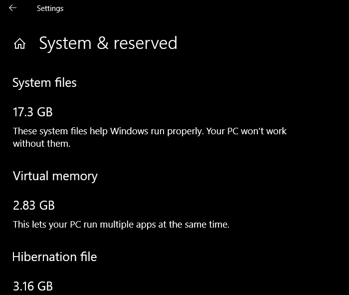 Windows 10 storage