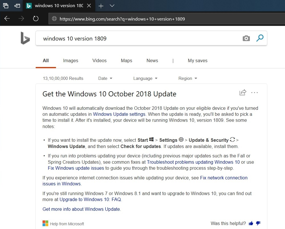Bing result in Edge
