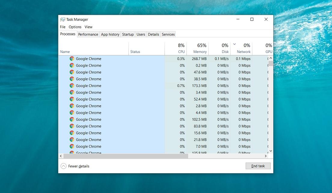 Chrome memory usage