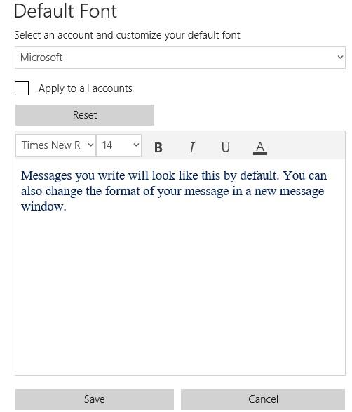 Default Font in Mail app