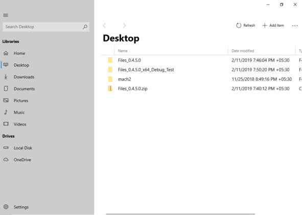 Files UWP desktop view