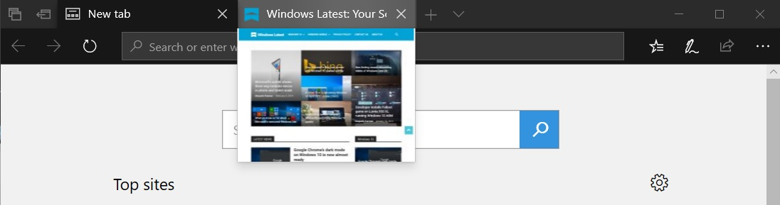 Microsoft Edge tab preview
