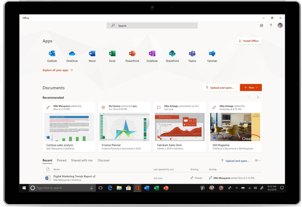 Office app homepage