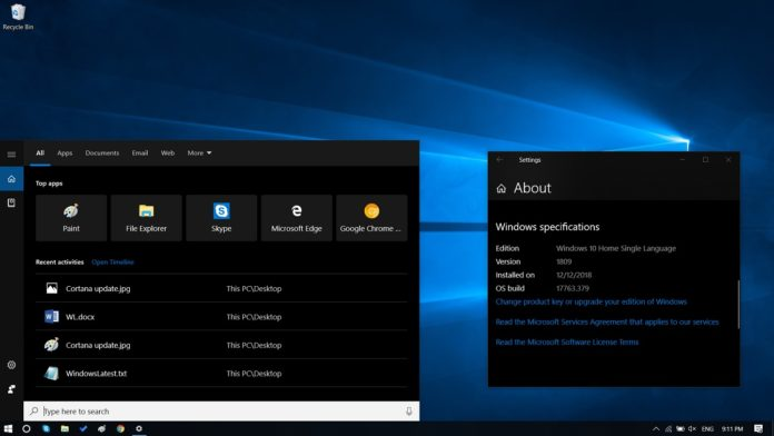 Cortana in Windows 10 v1809