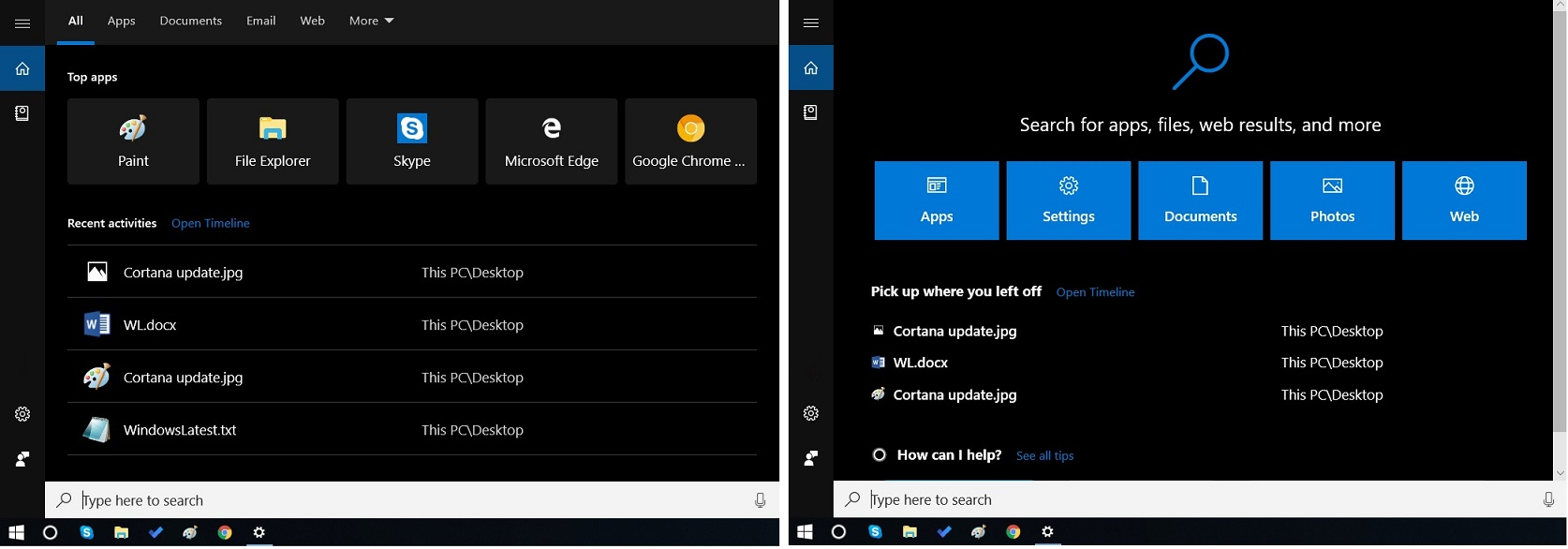 Cortana new vs old