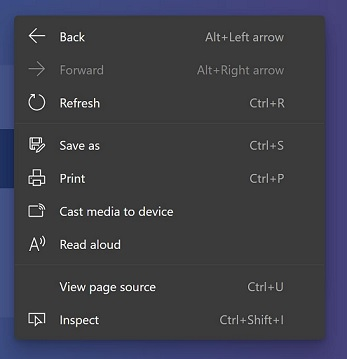 Edge right click menu