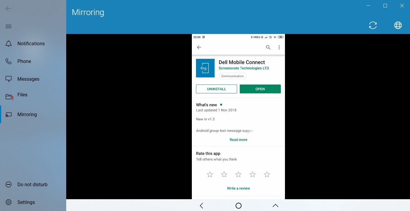 Mobile Connect app mirroring