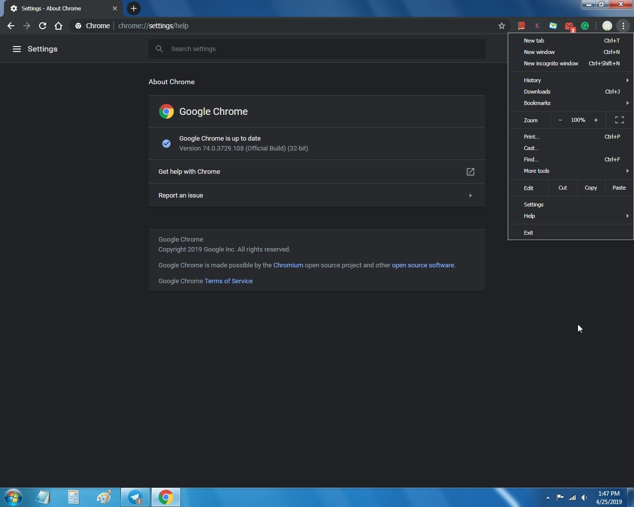 Chrome 74 for Windows 7