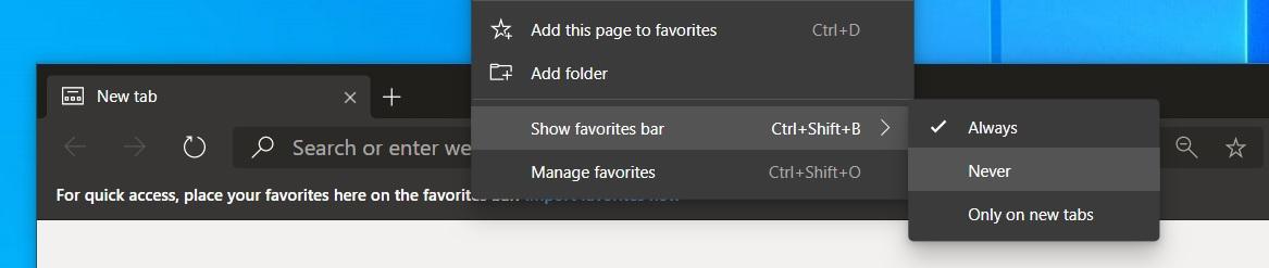 Edge favorites bar