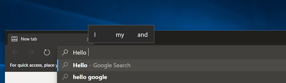 Edge keyboard suggestions