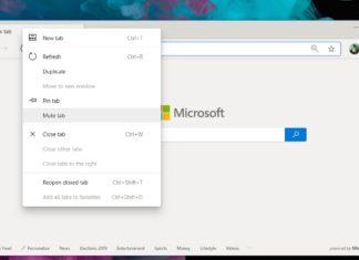 Microsoft Edge mute tab
