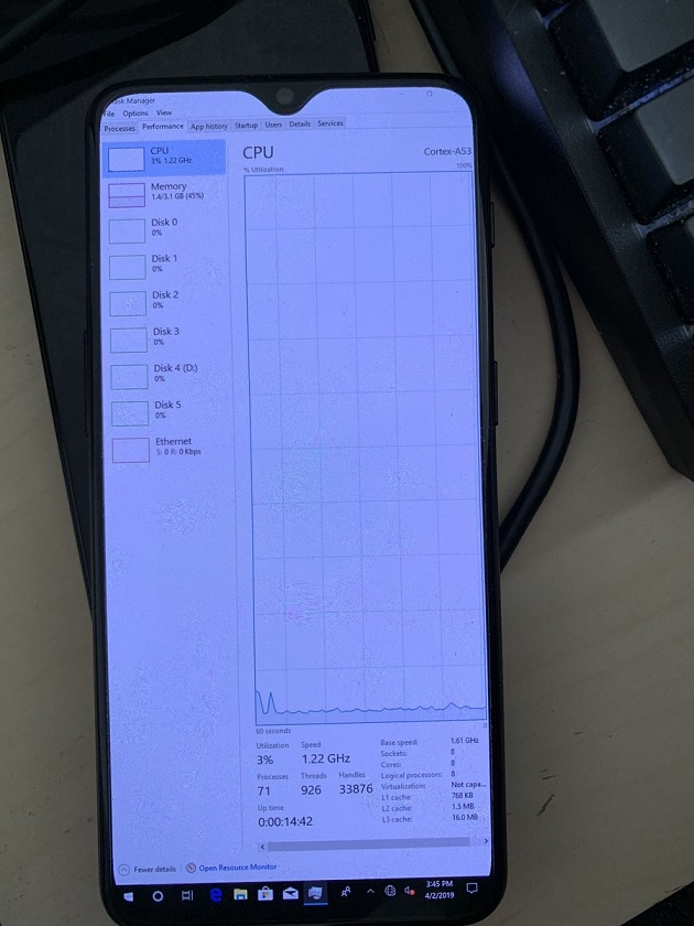 OnePlus 6T with Windows 10 ARM