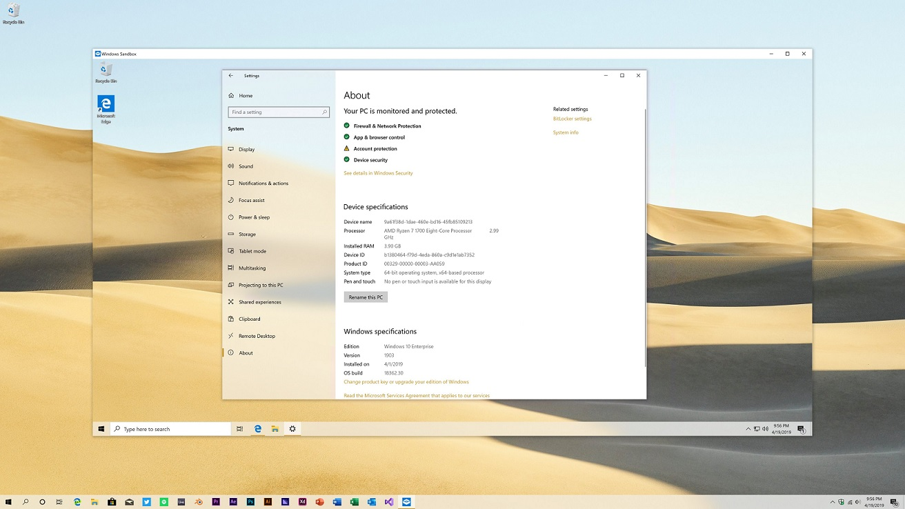Settings app in Windows Sandbox