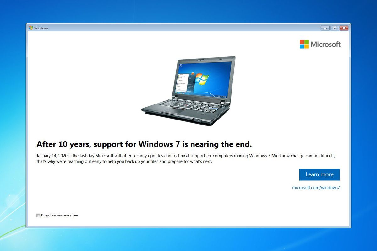 Windows 7 message