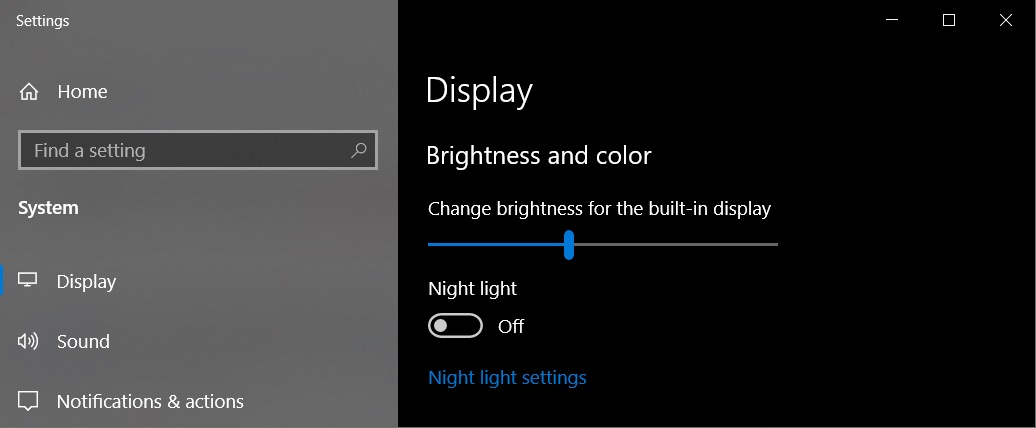 Brightness settings