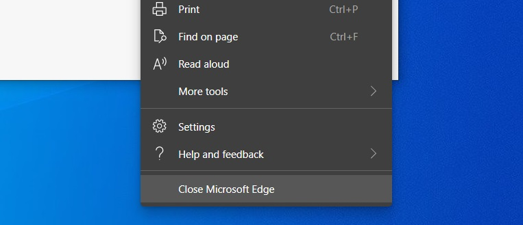 Edge browser menu