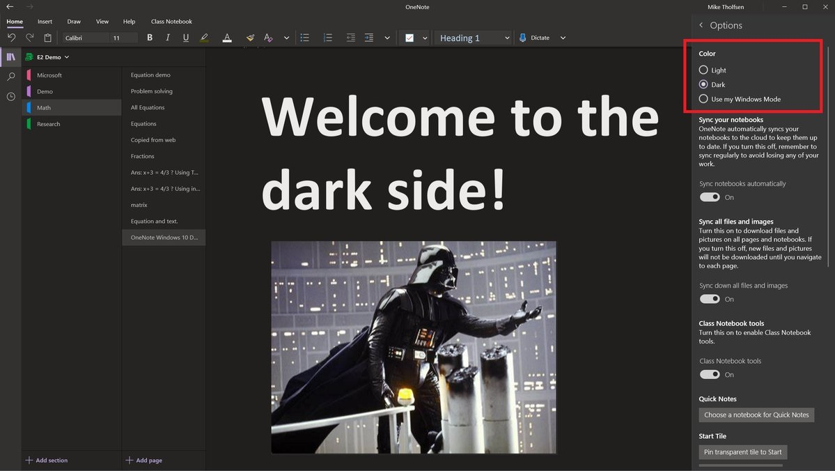 OneNote dark mode