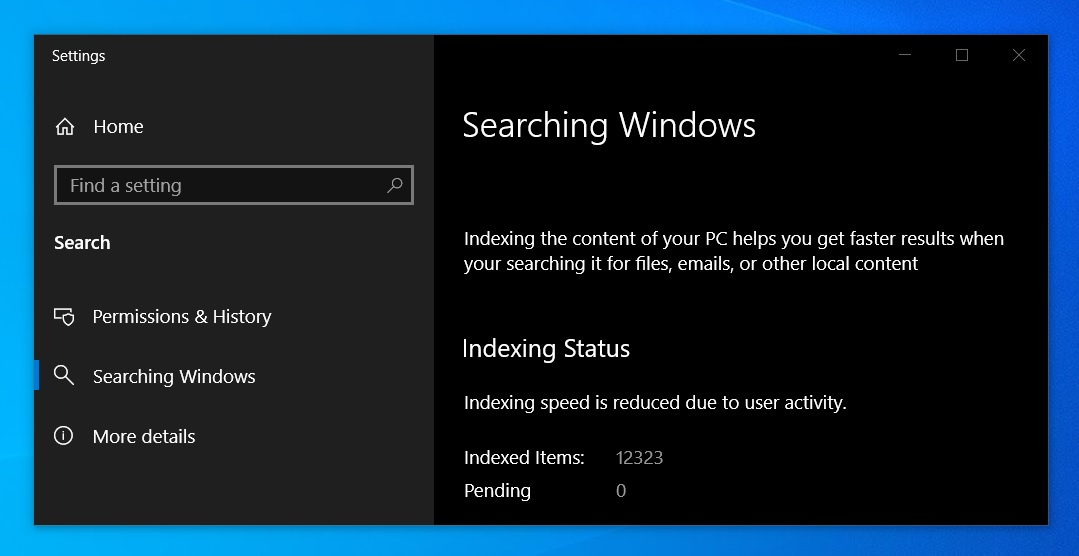 Windows Search enhanced mode