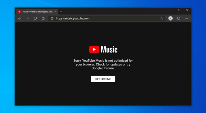 YouTube Music in Edge