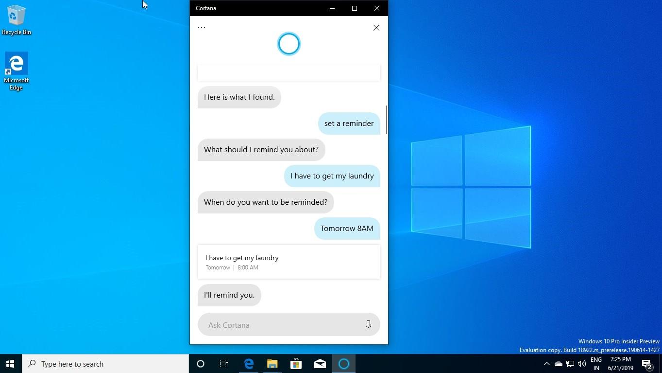 Cortana reminder