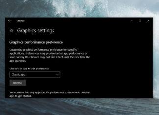 Graphics settings in v1903