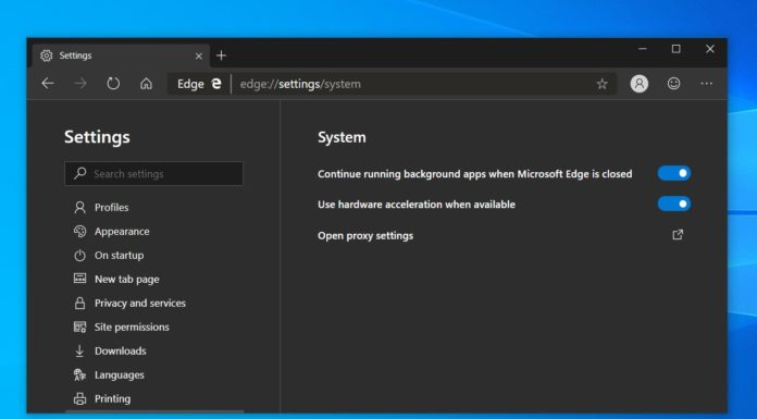 Microsoft Edge settings