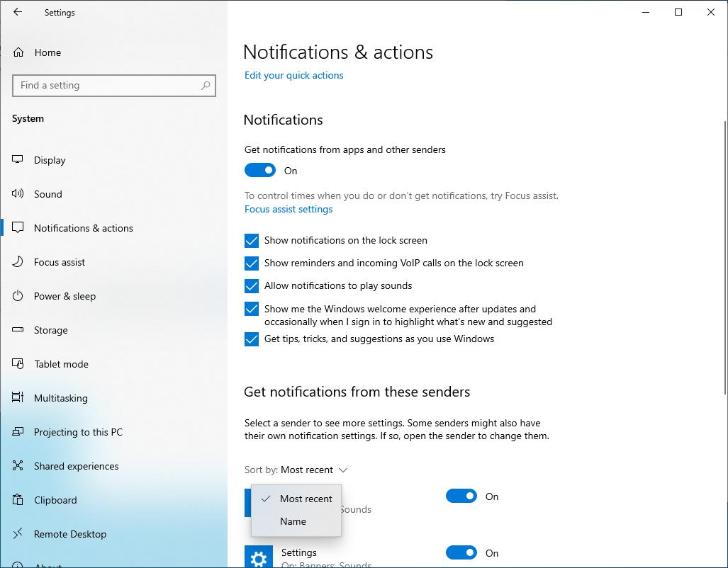 Windows 10 20H1 notifications