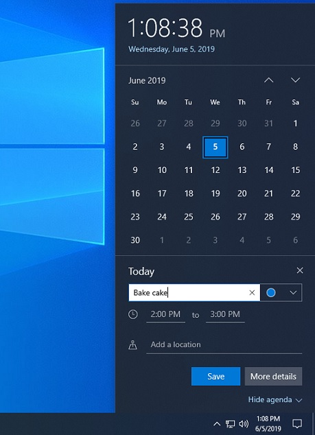 Windows 10 quick calendar